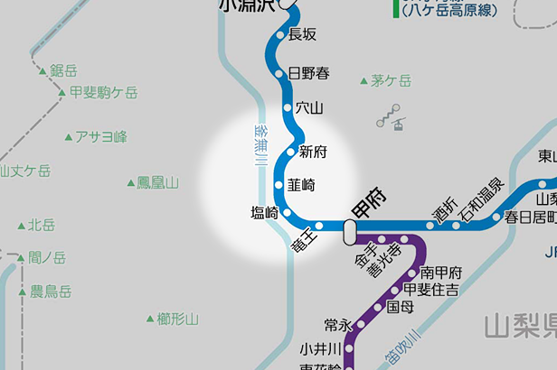 韮崎の路線図