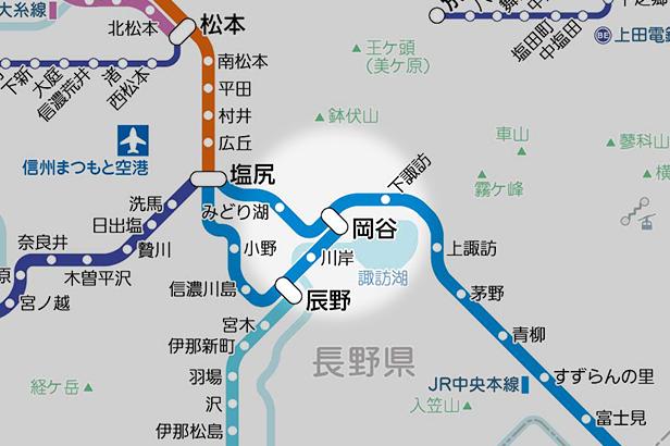 岡谷の路線図