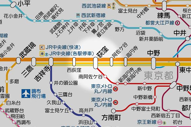荻窪の路線図