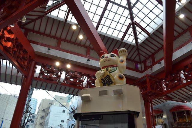 大須商店街「ふれあい広場」の巨大招き猫