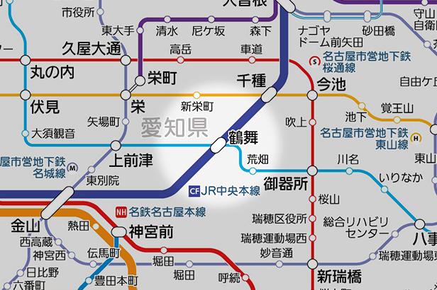 鶴舞の路線図
