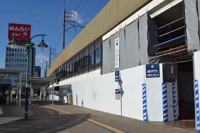 耐震補強と商業施設開発工事が進行中の名鉄瀬戸線大曽根駅