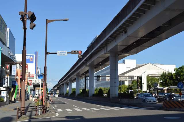 大曽根駅から西方に伸びるガイドウェイバス「ゆとりーとライン」の高架軌道