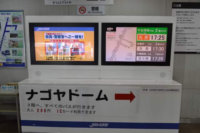 ゆとりーとライン大曽根駅の出発案内表示器