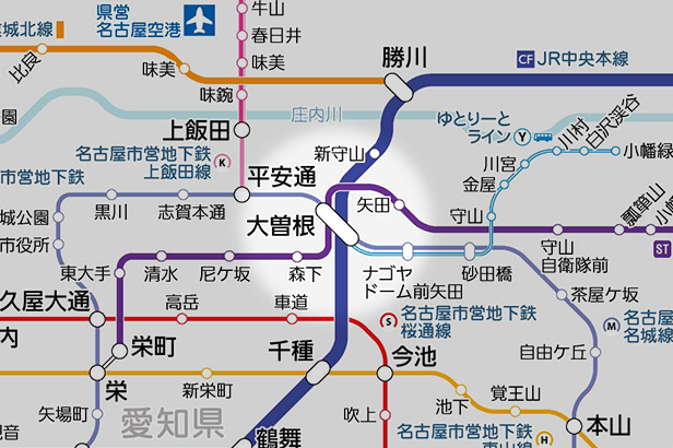大曽根の路線図