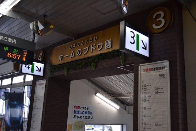 塩尻駅「ホームのブドウ園」入口