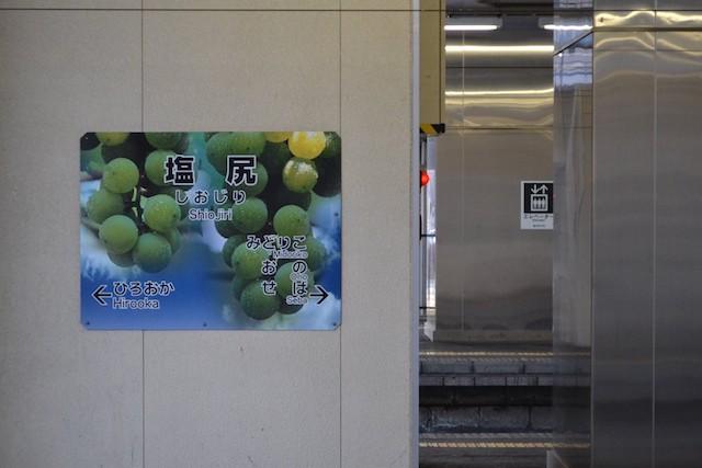 塩尻駅のぶどうがデザインされた駅名標