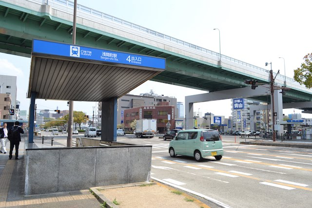 名古屋高速6号清須線沿いにある地下鉄浅間町駅4番出入口