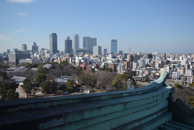 名古屋城天守閣展望室から南西(名古屋駅方向)を望む
