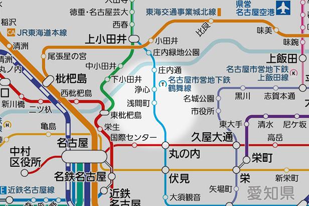 浅間町の路線図