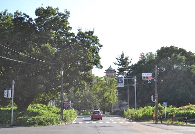 清水橋の西方に見える名古屋市役所の建物