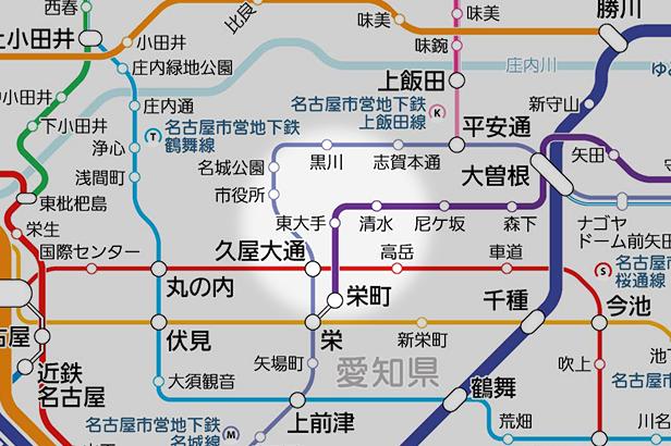 東大手の路線図