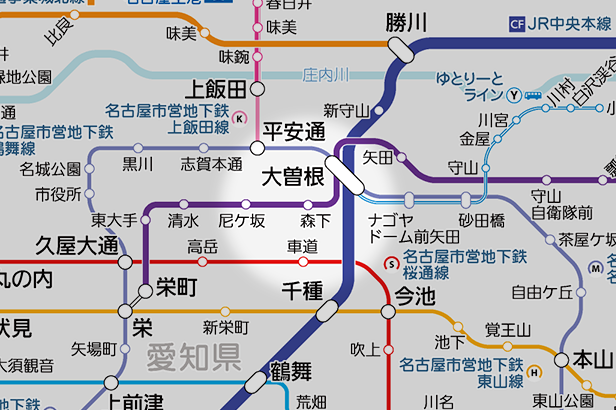 森下(愛知県)の路線図