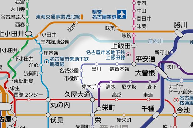黒川(愛知県)の路線図
