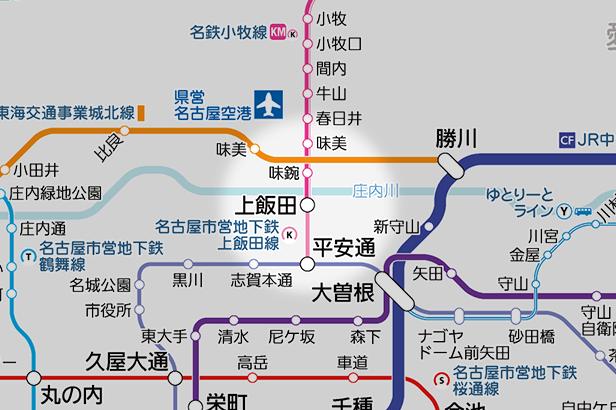 上飯田の路線図