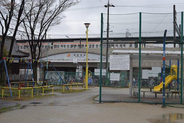 尾頭橋駅前にある遊具が備えられた西古渡公園