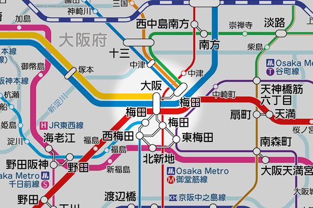 大阪の路線図