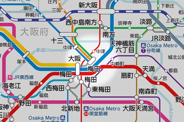 梅田(阪急)の路線図