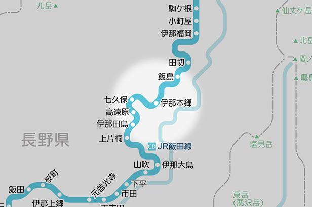 伊那本郷の路線図