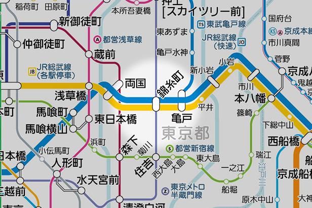 錦糸町の路線図