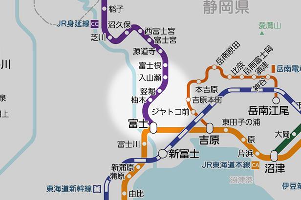 柚木(JR)の路線図