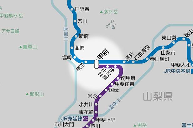 甲府の路線図