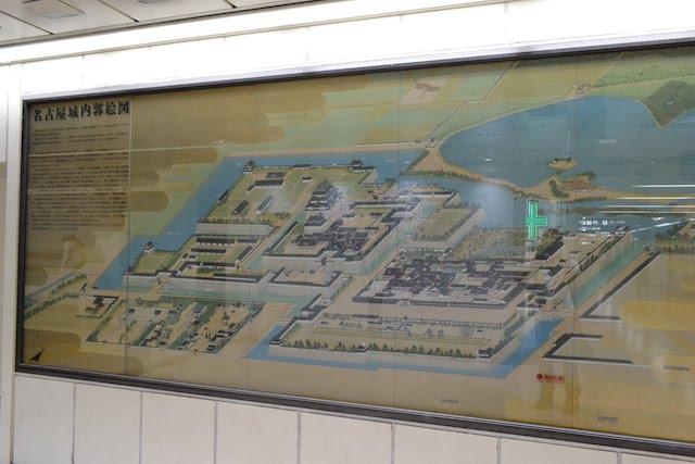市役所駅改札外の「名古屋城内郭絵図」