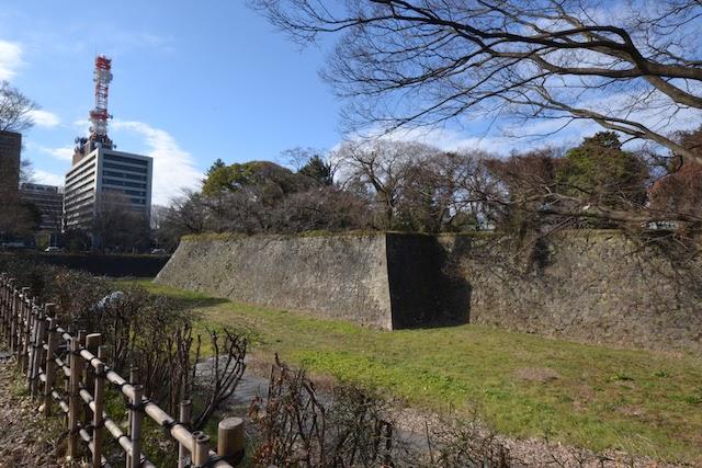 いまは空堀となっている名古屋城南東角