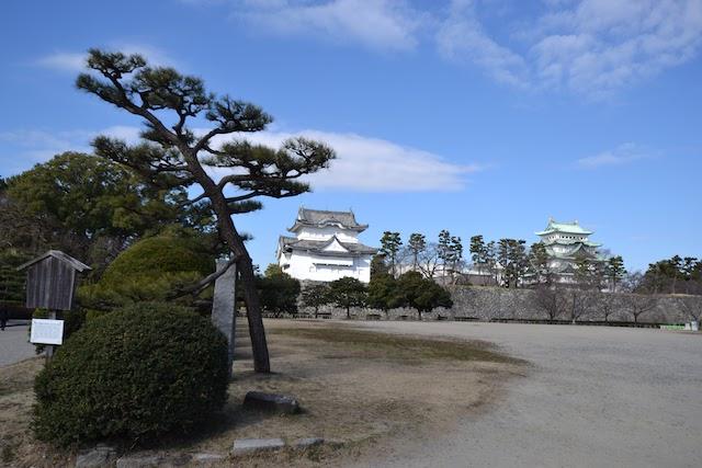 名古屋城二之丸庭園から東南隅櫓、天守閣を望む(2018年2月撮影)