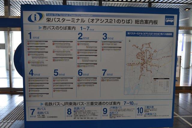 栄バスターミナル(オアシス21のりば)総合案内板