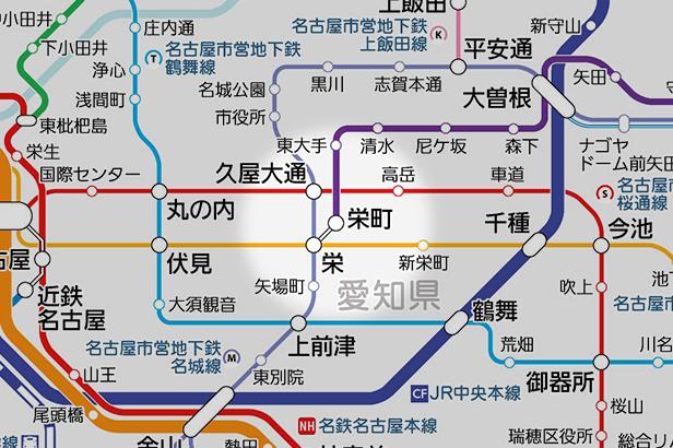 栄町(愛知県)の路線図