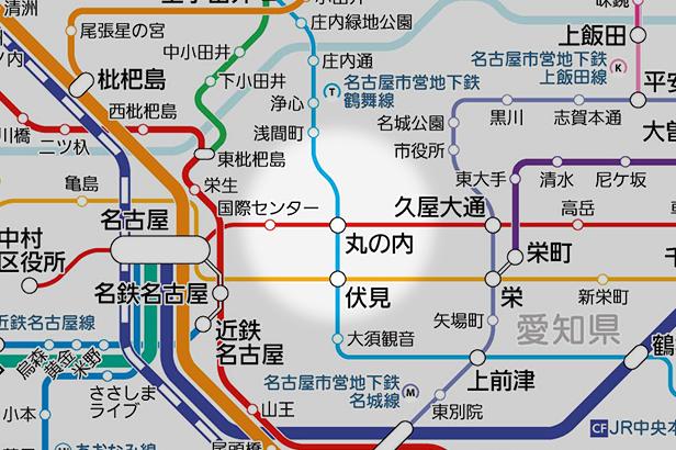丸の内(愛知県)の路線図