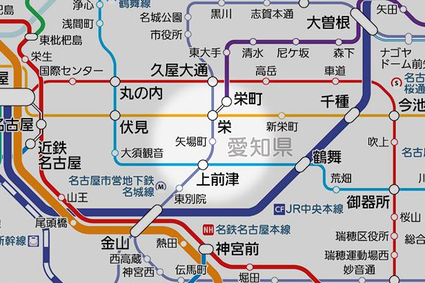 矢場町の路線図