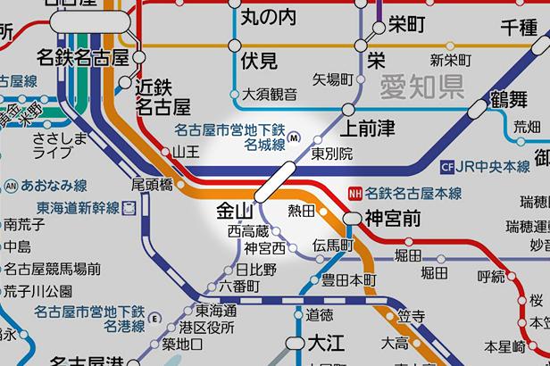 金山(愛知県)の路線図